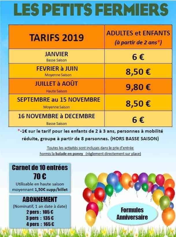 Petits Fermiers - Tarifs 2019